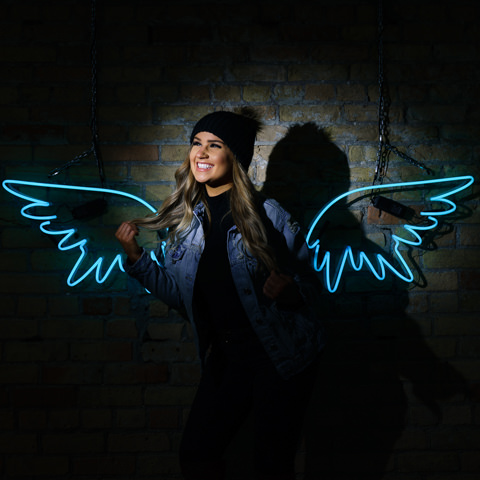 neon wings photography background