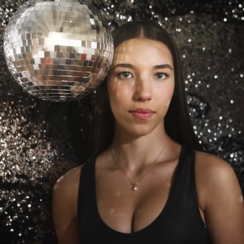 model with disco ball