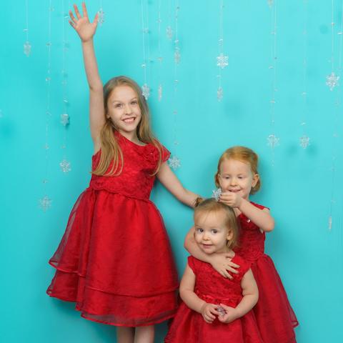 3 girls among snowflake crystals