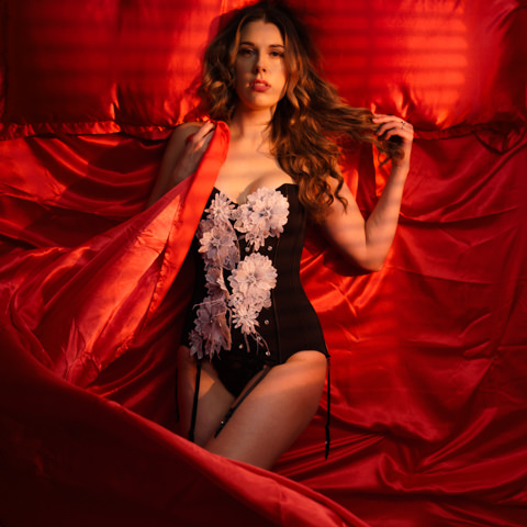 sexy red sheets photoshoot