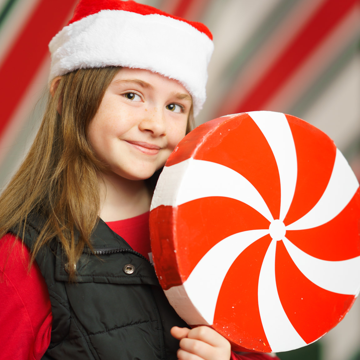 girl posing with peppermint