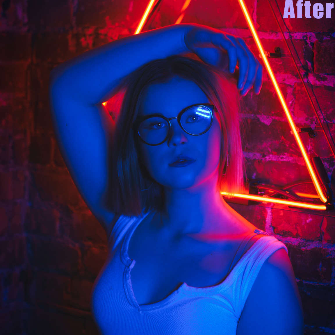after edit girl posing with neon