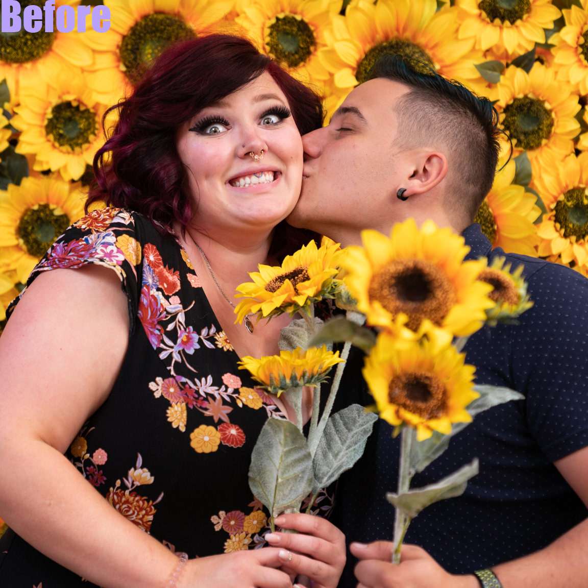 before edit-couple with sunflowers