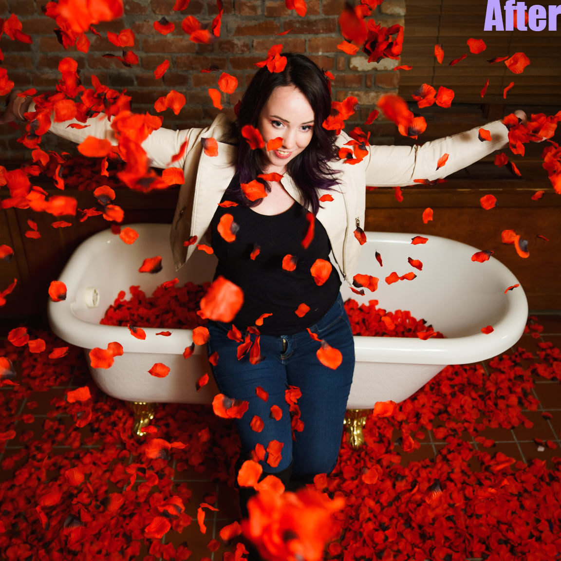 after edit-woman throwing roses