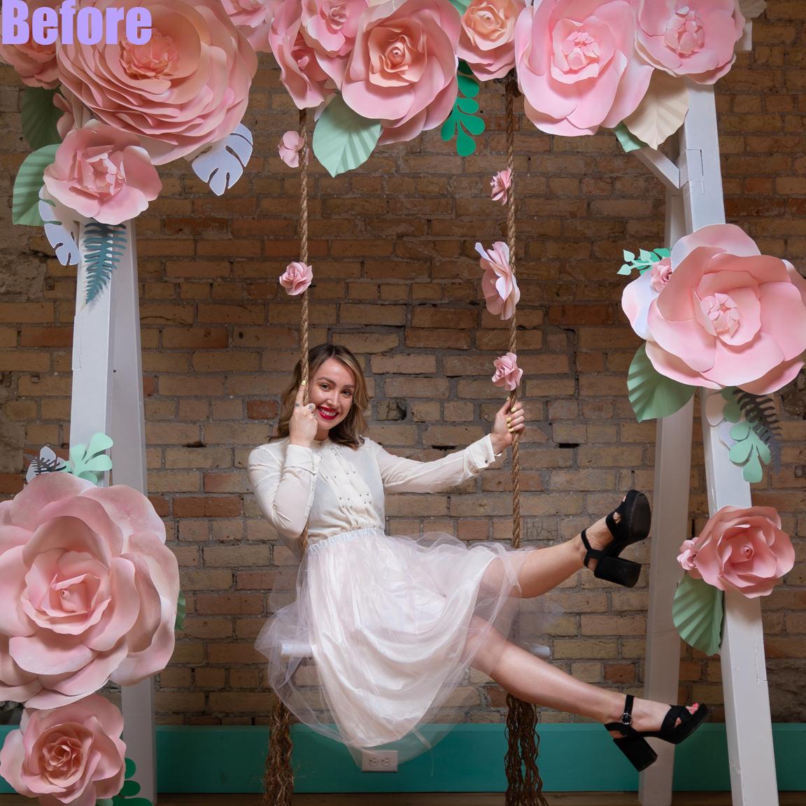 before edit-woman on swing