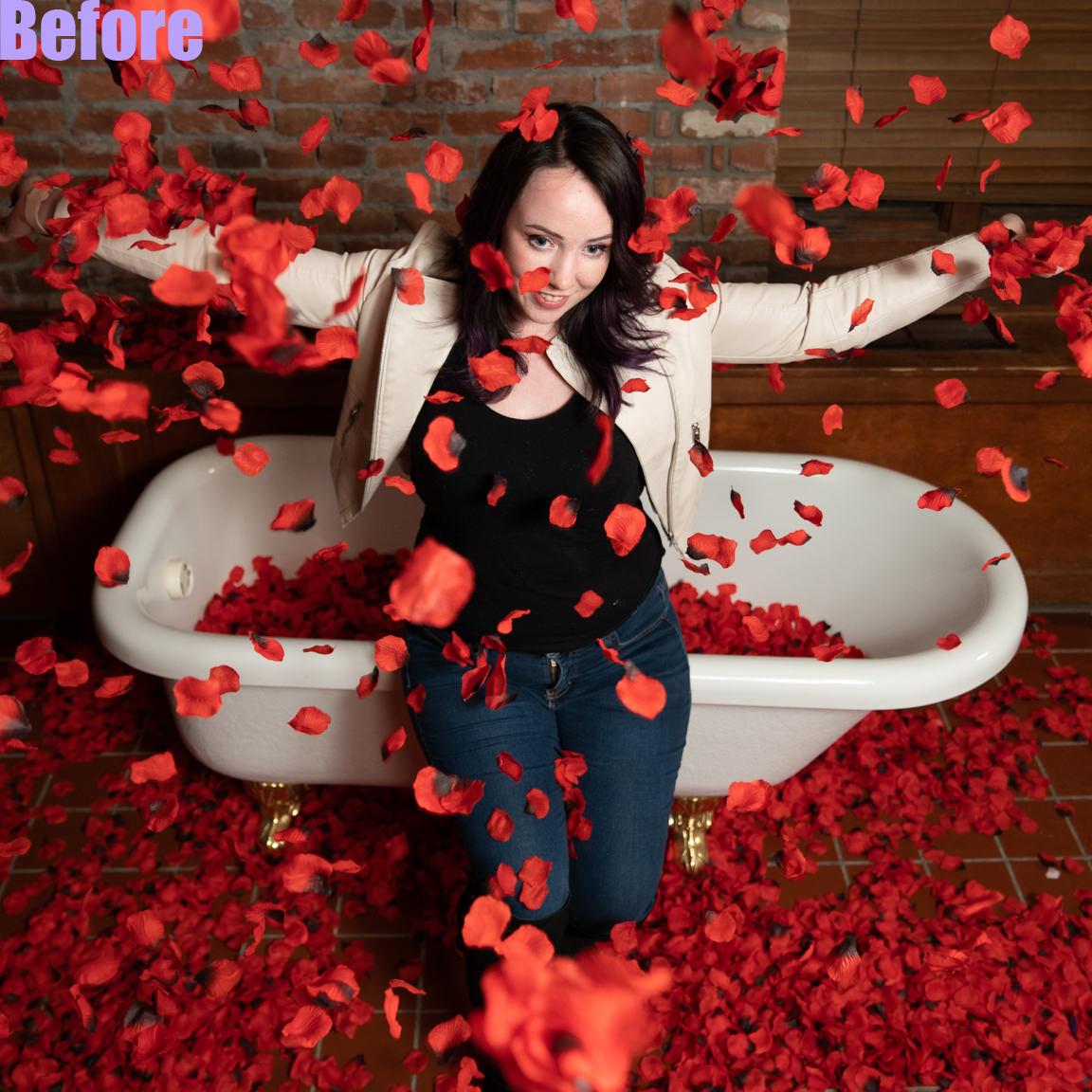 before edit-woman throwing roses
